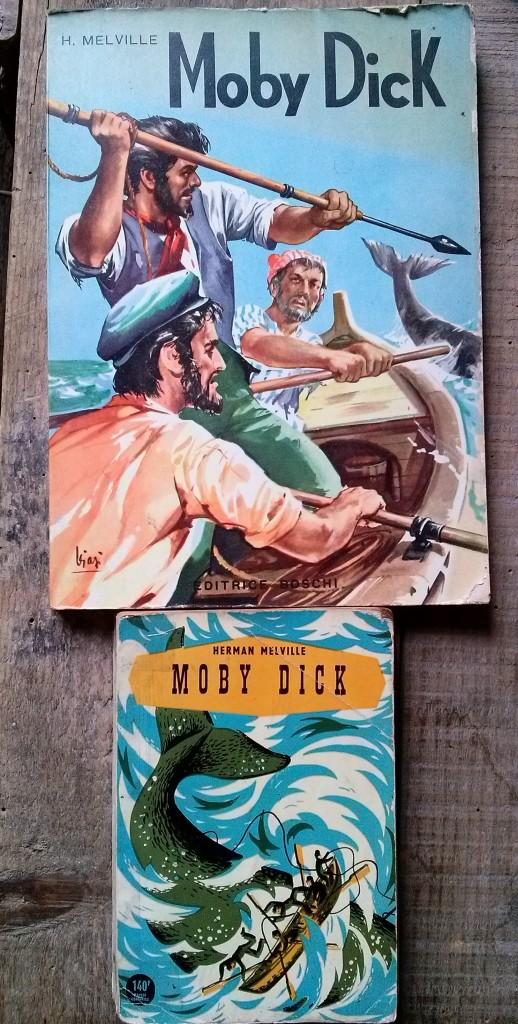 mes deux éditions de Moby Dick, illustré italien de 1963 et livre de poche français 1953
