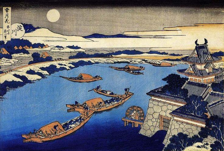 Hokusai - La Lune au-dessus du fleuve Yodo et du château d'Osaka
